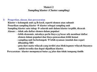 Materi 2  Sampling klaster (Cluster sampling)