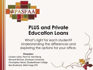 PLUS and Private Education Loans