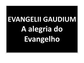 EVANGELII GAUDIUM A alegria do Evangelho
