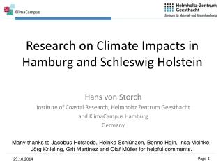 Research on Climate Impacts in Hamburg and Schleswig Holstein