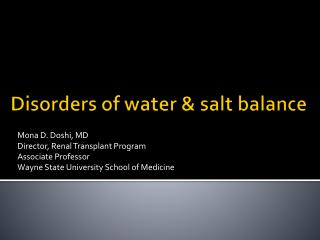 Disorders of water & salt balance