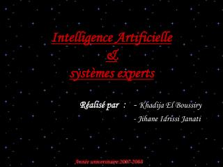 Intelligence Artificielle   syst mes experts