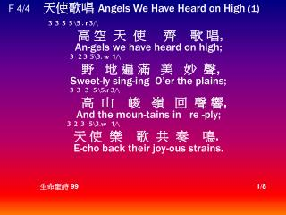 F 4/4      ???? Angels We Have Heard on High  (1 ) 	        3  3  3  5  \ 5 .  r 3 /\