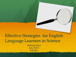 Effective Strategies  for English Language  L earners in Science