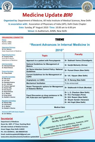 Theme  Recent Advances in Internal Medicine in 2010  Scientific Programme
