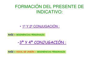 FORMACI�N DEL PRESENTE DE INDICATIVO: