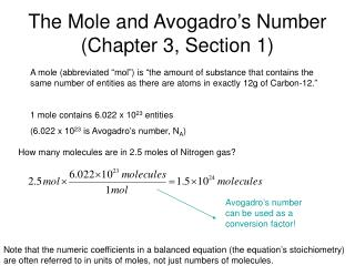 The Mole and Avogadro�s Number (Chapter 3, Section 1)