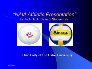 """NAIA Athletic Presentation"" by Jack Hank, Dean of Student Life"