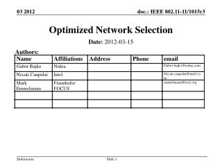 Optimized Network Selection