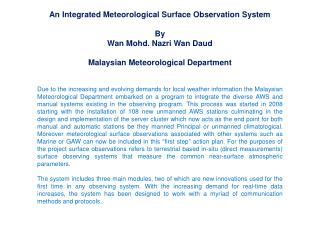 An Integrated Meteorological Surface Observation System By Wan Mohd. Nazri Wan Daud