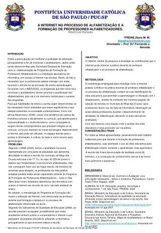 A INTERNET NO PROCESSO DE ALFABETIZAÇÃO E A FORMAÇÃO DE PROFESSORES ALFABETIZADORES.