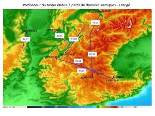 Profondeur du  M oho  établie à partir de données sismiques - Corrigé