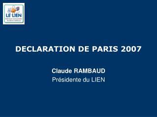 DECLARATION DE PARIS 2007