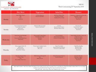 MENU  Week  Commencing 22 nd  September  2014
