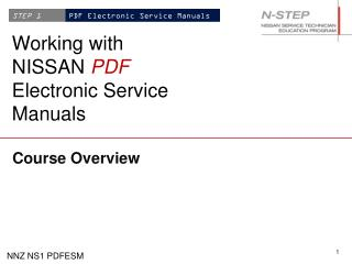 Working with NISSAN  PDF Electronic Service Manuals