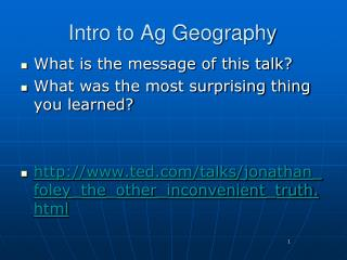 Intro to Ag Geography