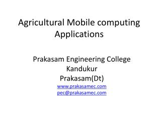 Agricultural Mobile computing Applications