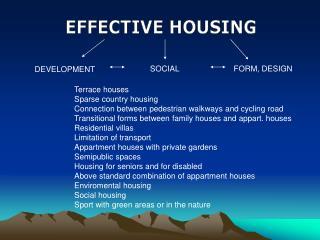 EFFECTIVE HOUSING