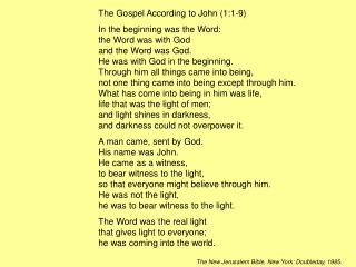 The Gospel According to John (1:1-9)