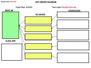 KEY DRIVER  DIAGRAM Project Name:   M.O.M.S. Team  Leader :  Populate Team Lead