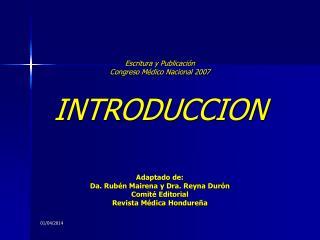 Escritura y Publicaci n Congreso M dico Nacional 2007  INTRODUCCION