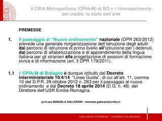 Il CPIA Metropolitano (CPIA-M) di BO  e il  riconoscimento dei crediti: lo stato dell'arte