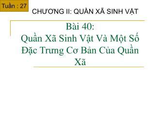 B i 40:  Qun X  Sinh Vt V  Mt S  c Trung Co Bn Ca Qun X