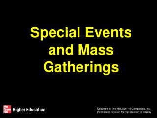 Special Events and Mass Gatherings