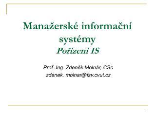 Manažerské informační systémy Pořízení IS