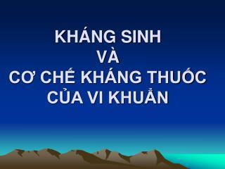 KH NG SINH  V   CO CH KH NG THUC CA VI KHUN