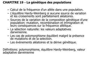 CHAPITRE 19 - La génétique des populations Calcul de la fréquence d'un allèle dans une population.