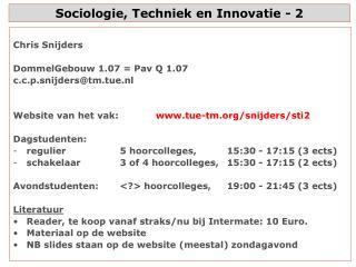 Sociologie, Techniek en Innovatie - 2
