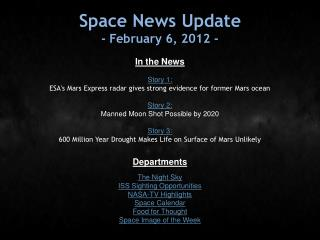 Space News Update - February 6, 2012 -