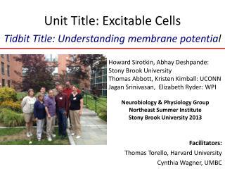 Unit Title: Excitable Cells Tidbit Title: Understanding membrane potentia l