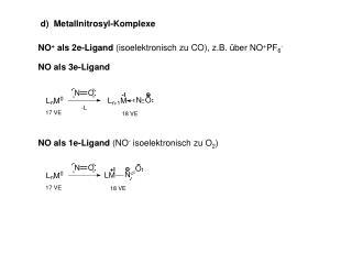 NO als 1e-Ligand  (NO -  isoelektronisch zu O 2 )