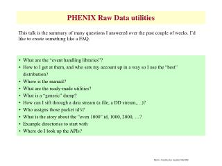 PHENIX Raw Data utilities