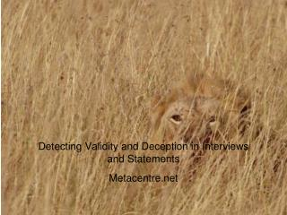 Detecting Validity and Deception in Interviews and Statements Metacentre