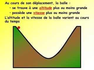 Au cours de son d placement, la balle : se trouve   une altitude plus ou moins grande poss de une vitesse plus ou moins