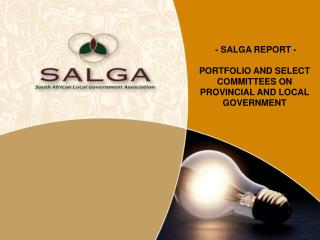 - SALGA REPORT - PORTFOLIO AND SELECT COMMITTEES ON PROVINCIAL AND LOCAL GOVERNMENT