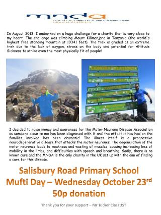 Salisbury Road Primary School Mufti Day – Wednesday October 23 rd 50p donation