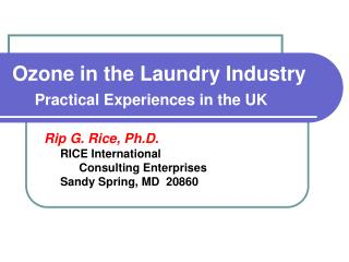 Ozone in the Laundry Industry  Practical Experiences in the UK