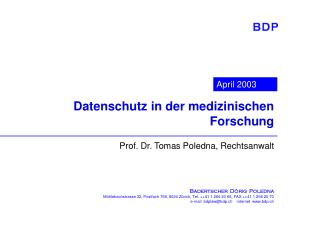 Datenschutz in der medizinischen Forschung