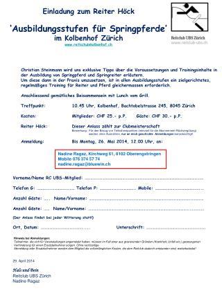 Einladung zum Reiter Höck 'Ausbildungsstufen für Springpferde'