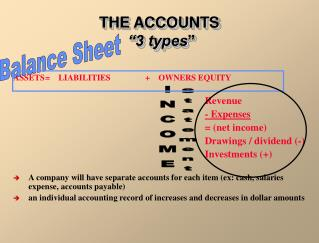 """THE ACCOUNTS  """"3 types """""""