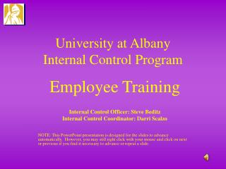University at Albany  Internal Control Program