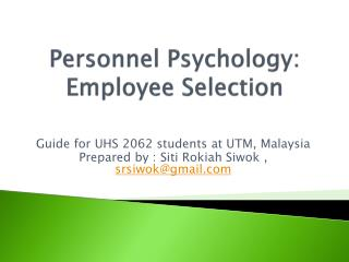 Personnel Psychology: Employee Selection