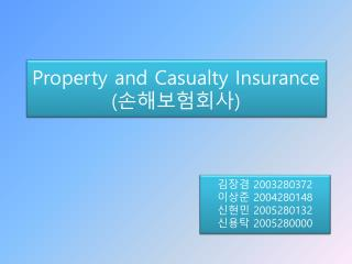 Property and Casualty Insurance  ( 손해보험회사 )