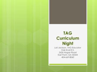 TAG  Curriculum  Night