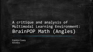 A critique and analysis of Multimodal Learning Environment:  BrainPOP  Math (Angles)