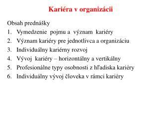 Kariéra v organizácii